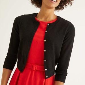 Boden 100% Cashmere Cropped Cardigan, Black, Med